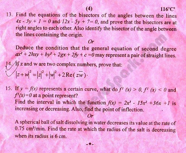 Old Question Paper 2072 (2015) - Mathematics Grade XI